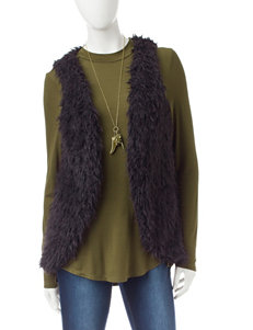 Self Esteem 3-pc. Top & Faux Fur Vest Set