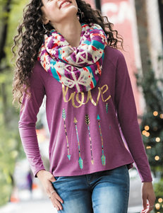 Self Esteem 2-pc. Red Love Top & Scarf Set