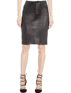 Jessica Simpson Black Coated Suede Skirt