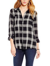 Jessica Simpson Black & White Plaid Print Top