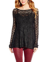 Jessica Simpson Black Pointelle  Top