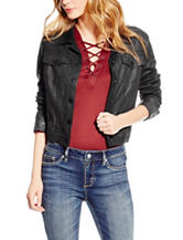 Jessica Simpson Black Coated Suede  Moto Jacket