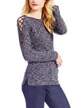 Jessica Simpson Blue Lace-up Cold Shoulder Top