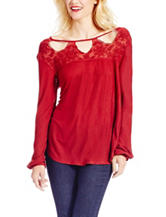 Jessica Simpson Red Lace Yoke Top