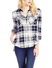 Jessica Simpson Blue & White Plaid Print Top