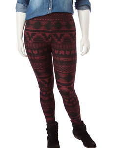 Justify Juniors-plus Black & Red Aztec Print Leggings