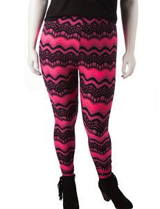 Justify Plus-Size Pink & Black Chevron Print Leggings