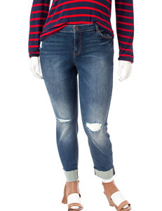 Almost Famous Juniors-plus Destructed Roll Cuff Jeans