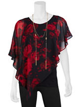 A. Byer 2-pc. Red & Black Floral Top & Fashion Necklace Set