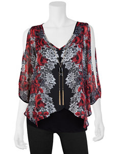 A. Byer 2-pc. Floral Print Top & Fashion Necklace Set