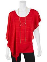 A. Byer 2-pc. Red Stripe Print Top & Fashion Necklace Set
