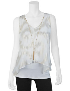 A. Byer 2-pc. White & Gold Abstract Print & Fashion Necklace Set