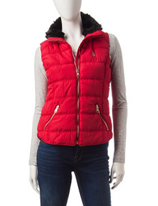 U.S. Polo Assn. Red Faux Fur Trim Puffer Vest