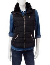 U.S. Polo Assn. Black Faux Fur Trim Vest