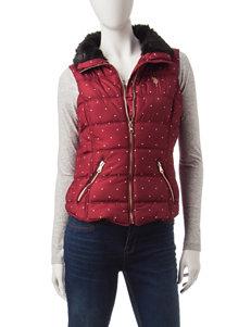 U.S. Polo Assn. Red & White Polkadot Print Faux Fur Trim Puffer Vest