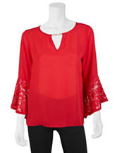 A. Byer Red Lace Detail Top