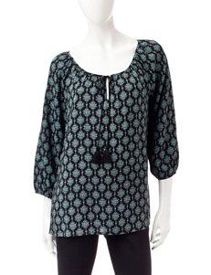 Signature Studio Black / Turquoise Shirts & Blouses