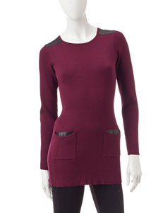 A. Byer Burgundy Ribbed Knit Tunic Top