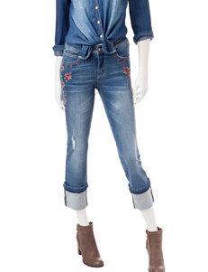 Signature Studio Embroidered Roll Cuff Jeans