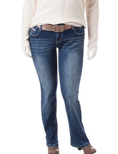 Amethyst Juniors-plus Medium Wash Boot Cut Jeans with Metallic Bronze Belt