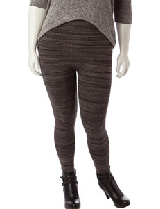 Ultra Flirt Juniors-plus Tonal Grey Stripe Leggings