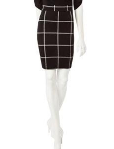 Joe Benbasset Black & White Window Pane Print Pencil Skirt
