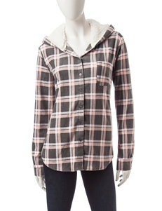Ultra Flirt Multicolor Plaid Print Hoodie