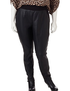 Almost Famous Juniors-plus Black Faux Leather Leggings