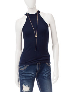 Wishful Park Navy Tank with Fashion Necklace