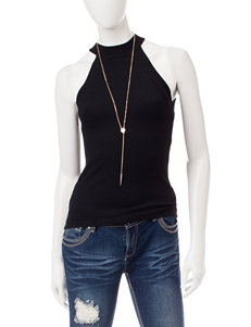 Wishful Park Black Tank with Fashion Necklace