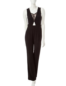 XOXO Black Lace Panel Jumpsuit