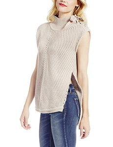 Jessica Simpson Beige Mock Neck Cable Knit Sweater