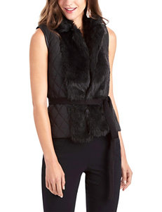 XOXO Black Faux Fur Quilted Vest