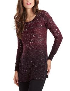 XOXO Burgundy Ombre Sequin Sweater