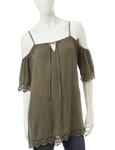 Wishful Park Olive Green Shirts & Blouses
