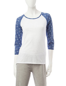 Wishful Park Striped Print & Anchor Raglan Top