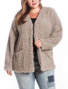 Eyeshadow Juniors-plus Grey Fuzzy Cardigan