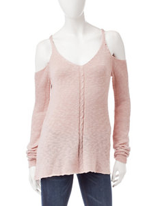Pink Rose Pink Cold Shoulder Knit Top
