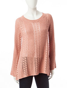 Pink Rose Pink Pointelle Knit Raglan Top
