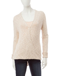 Pink Rose Beige Gathered Hem Top