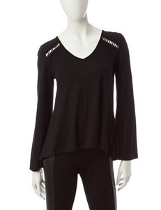 My Michelle Black Lace & Crochet Tunic Top