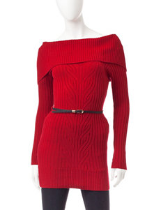 My Michelle Red Belted Tunic Sweater