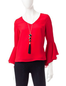 My Michelle Red Back Cut-out Top & Fashion Necklace
