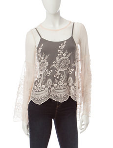 My Michelle Sheer Champagne Crochet Top