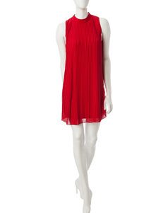 My Michelle Red Mock Neck Pleated Dress