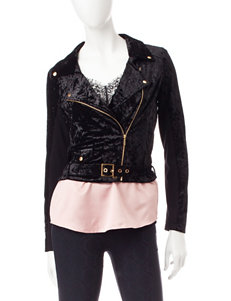 My Michelle Black Velvet Moto Jacket