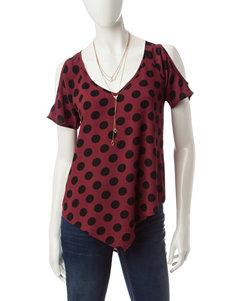 Heart Soul Dot Print Top & Fashion Necklace