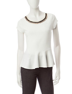 Heart Soul White Gold-tone Back Cut-out Peplum Top