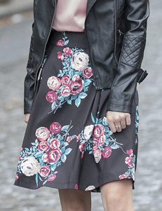 Heart Soul Multicolor Floral Print Skirt