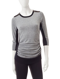 A. Byer Grey & Black Color Block Ruched Top